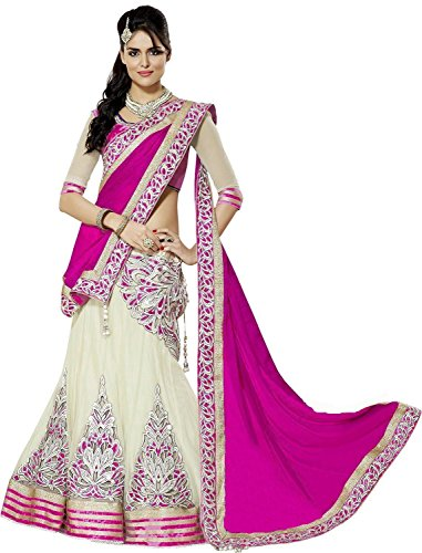 Happy Creation Women Georgette Lehenga (43 Pink Lengha_Pink & Off White_Free Size)