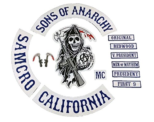 Sons of Anarchy 13 x Piece Full Size Biker Patch set. SOA Patches. SAMCRO Top Rocker by Merch2Rock (Rocker T-shirts Ihr)