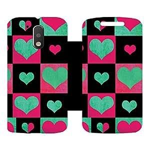 Skintice Designer Flip Cover with Vinyl wrap-around for Motorola Moto G4 Plus, Design - Love Hearts