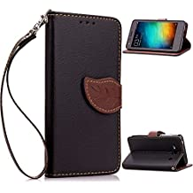 Redmi 2A Funda,+Free Gifts Multifunctional Data Line SongNi® TPU Leather Wallet Funda,Leaf shape Magnetic Closure,Card Slot,Wallet,Stand,Flip leather Funda for Redmi 2A-Black