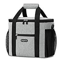 Bagmine Cooler Bag 40-Can Large Collapsible Insulated Tote Bag Soft Sided Cooler Box for for Hiking Picnic Camping Beach BBQ Party Beige