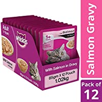 Whiskas Adult Wet Cat Food, Salmon in Gravy ,85 g (Pack of 12)