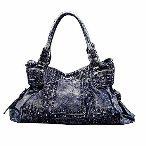 Fashion Handtasche mode Persönlichkeit oblique Satchel inlay Diamond Stud cowboy Handtasche, 41 * 12 * 28 cm, hellblau (Handtasche Stud)