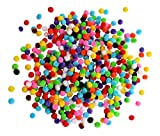 500 Fluffy Coloured Craft Pom Poms Mixed Colours 10mm - Pompoms Various