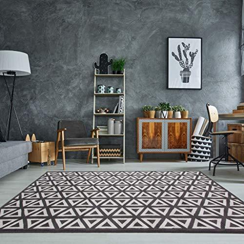 The Rug House Tradicional Alfombra Milán para Sala de Estar con diseño geométrico Moderno en Gris...