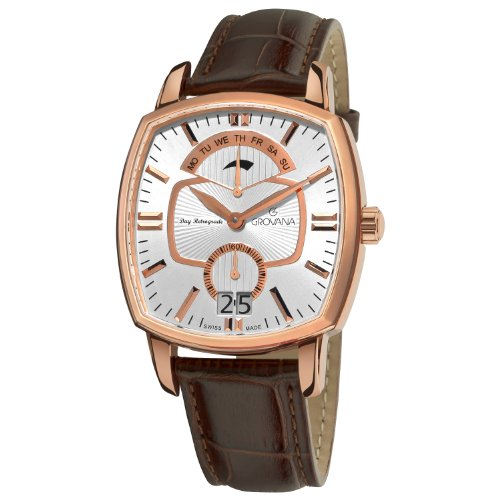 Grovana Men's Quartz Watch with White Dial Analogue Display and Brown Leather Strap 1717.1562
