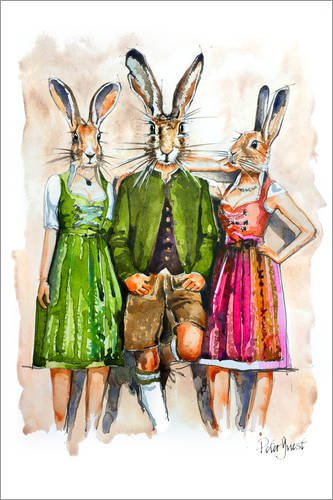 Alu dibond 40 x 60 cm: dude rabbit & bunnies di peter guest