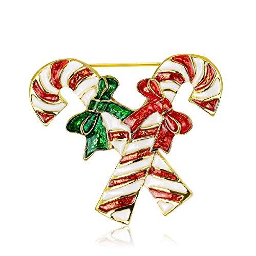 Cdet Weihnachtszuckerstange Corsage Brosche Weihnachten Süßigkeiten Krücken Form Legierungs...