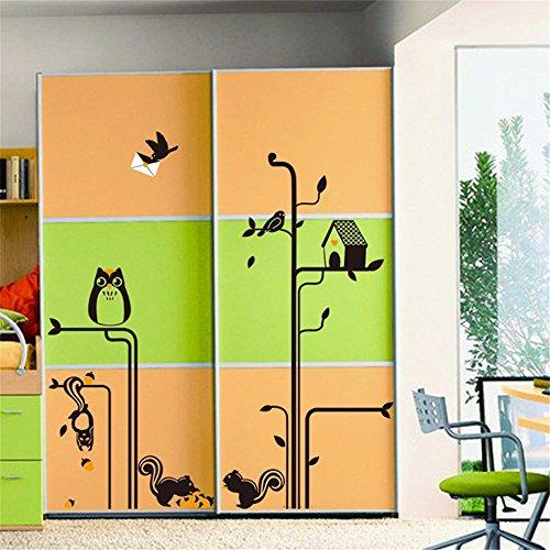 Preisvergleich Produktbild XPY-wall sticker Wandtattoos wandaufkleber Wandbilder Tapeten Wandsticker-Eichhörnchen-Eulen-Garderoben-Wand-Sofa-Hochzeits-Raum-Anordnungspapier,  60 * 90CM