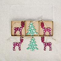 Colgante de madera de alces pintados de Navidad Árboles de Navidad decoraciones de signos de madera creativos Árbol de Navidad alces