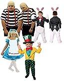 ILOVEFANCYDRESS WUNDERLAND KOSTÜM VERKLEIDUNGEN Fasching Party=Kinder +Erwachsenen = HASE/Kinder+ Alice/Kinder+GLATZKÖPFIGEN Zwillinge/Erwachsenen+MAD Hatter/Kinder=Zwillinge-XLarge+XLarge