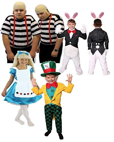 ILOVEFANCYDRESS WUNDERLAND KOSTÜM VERKLEIDUNGEN Fasching Party=Kinder +Erwachsenen = HASE/Kinder+ Alice/Kinder+GLATZKÖPFIGEN Zwillinge/Erwachsenen+MAD Hatter/Kinder=Zwillinge-XXLarge+XXLarge (Mad Hatters Party Kostüm)