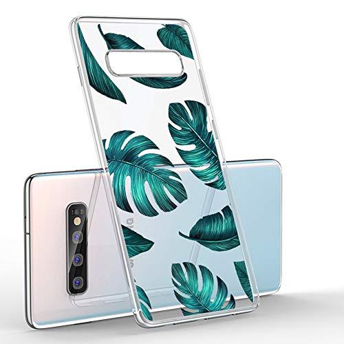 CICIBER Kompatibel mit Samsung Galaxy S10 Hülle Silikon Transparent Schutzhülle Weich TPU HandyHülle, Mädchen Geschenk Muster Antikratz Design case Cover - Blätter -