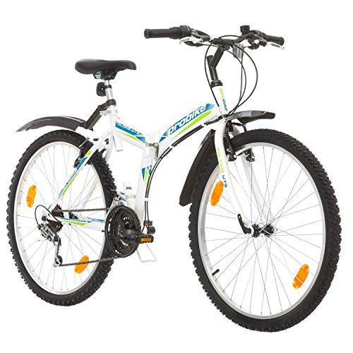 Multibrand, PROBIKE FOLDING MTB 26, 26 Zoll, 457mm, Klapp Mountainbike, 18-Gang, Unisex, Blau Grün Rot (Blau-Grün + Kotflügel, 18 zoll)