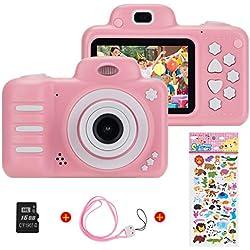 (16 Go de microSD)720P HD Enfants Caméra Appareil Photo Numérique, Vannico 8MP 2,4 pouces de voyage extérieure portable pour enfants caméra, 3-14 ans cadeau d'anniversaire de garçon et fille(Rose)