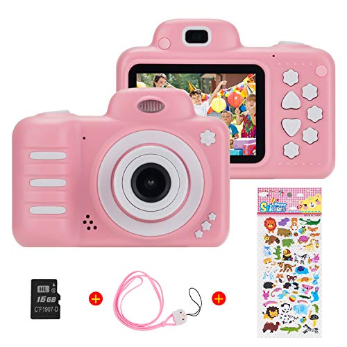 Vannico (16GB microSD) 1080P HD per Bambini Fotocamera Digitale, 800MP 2.4 Pollici Outdoor Travel Portatile Fotocamera per Bambini, 3-14 Anni Ragazzo e Ragazza Regalo di Compleanno (Rosa)