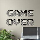 Game Over Wall Decal Gamer Affiche Signe De Jeu Salle De Jeux Vinyle Autocollant Décor À La Maison Garçons Chambre Murale Vidéo Pixel Papier Peint, 60.6X34.2Cm