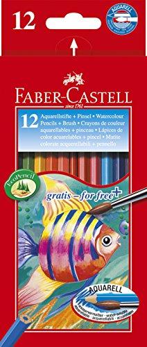 Faber-Castell – Estuche de cartón con ecolápices acuarelables de colores y pincel