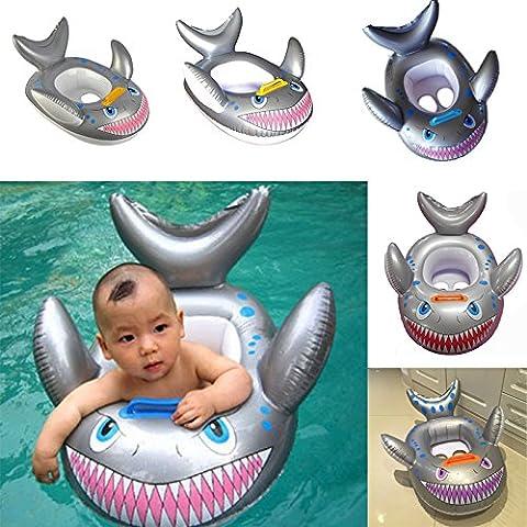Hrph Nueva forma de tiburón inflable de los niños del niño del bebé de natación nadar flotador del asiento del anillo