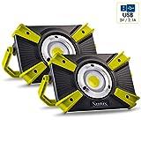 Sunix 2 x Faro Luce LED Portatile 30W, 1600LM Lampada da Lavoro, Proiettore Portatile Luce LED, 4 modalità, con Luce Rossa, Impermeabile IP64, batterie Ricaricabili Integrate