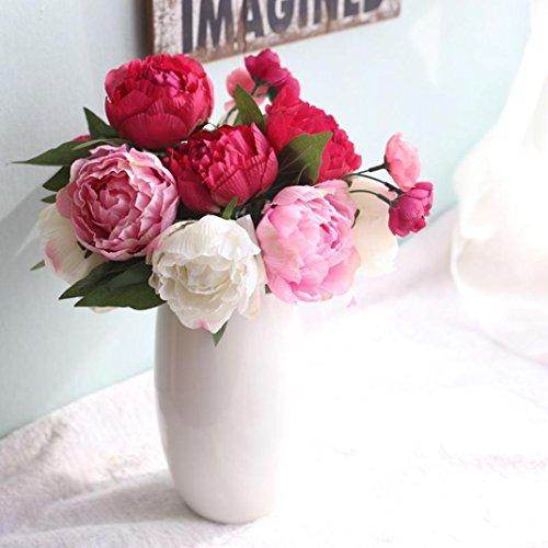 Unechte Blumen,LuckyGirls Künstliche Deko Blumen Gefälschte Blumen Seidenblume 9 Köpfe Pfingstrose Braut Hochzeitsblumenstrauß für Haus Garten Party Blumenschmuck