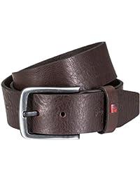 Pierre Cardin Mens leather belt / Mens belt, full grain vegetable leather belt, black / brown, Größe / Size:115;Farbe / Color:marron