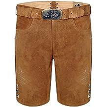 Herren Trachten Lederhose kurz incl Hosenträger Farbe Braun neu Orange stick