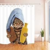 """QCWN Lovely Cat Shower Curtain Funny Kitten Showering Cat Animals Bathing Decor Fantastic Bath Decorations with Free Hooks (2, 70""""x70"""")"""