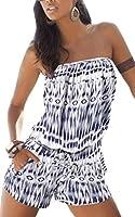 Damen Mode Jumpsuits Overall Playsuits Strapless ärmellos Blumenmuster Frauen Straps Sommer Strand Shorts Spielanzug Schulter