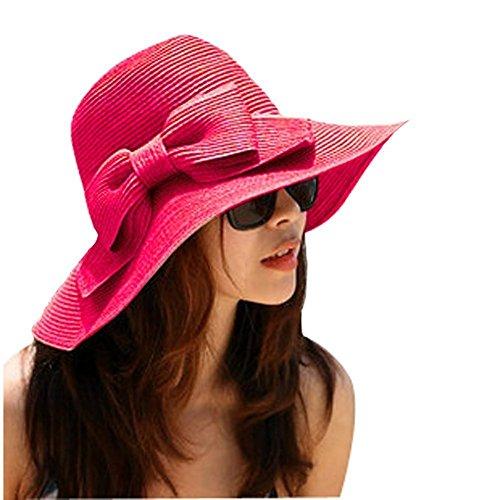 Cappello di paglia a tesa larga con fiocco, da donna, per proteggere dal sole, rosa rosso