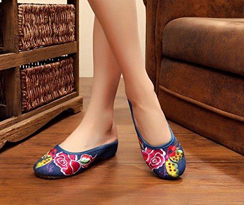 &QQ Fine Chaussures brodées, semelle tendon, style ethnique, flip flop féminin, mode, confortable, sandales denim blue