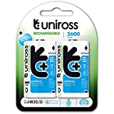 Uniross D Cell LR20 MN1300, MX1300 Ni-MH Rechargeable Batteries 2600mAh - 2 Pack