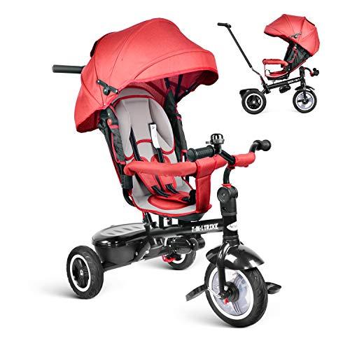 besrey Triciclo Bambini 7 in 1 Triciclo con Maniglione Triciclo a Spinta Triciclo Passeggino con Seggiolino Rversibile da 6 Mesi a 6 Anni ,Rosso+Parapioggia Gratis+Ruota Gomma