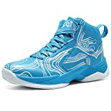 LANSEYAOJI Basketball Schuhe Turnschuhe Kinderschuhe Sportschuhe Jungen High-Top Outdoor LaufeSchuhe Sneaker Unisex-Kinder Atmungsaktiv Anti-Rutsch Trainers Running Shoes,Blau,EU37