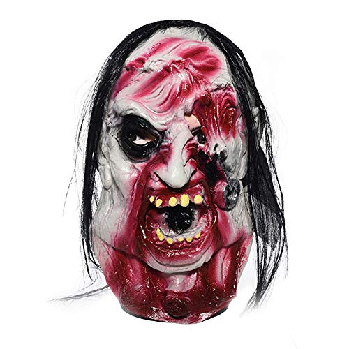 Qifumaer Scary Halloween Costume Horror Zombie Mask Bloody Masque de Latex Naturel pour Horreur Party ou Costume Cosplay Masque de Zombie pour Adultes