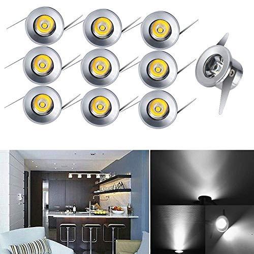 10x LED-Einbaustrahler Minispot Einbauleuchte Strahler Licht Set Alu 1W weiß -