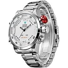 Weide - Reloj de pulsera de cuarzo para hombre, pantalla led multifunción, sumergible, acero/plata, estilo militar