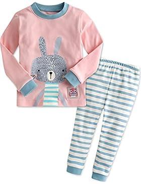 Vaenait Baby 74-122 Kinder Maedchen Bekleidung Langarm zweiteilige Schlafanzuge Pyjama Pink Bunny