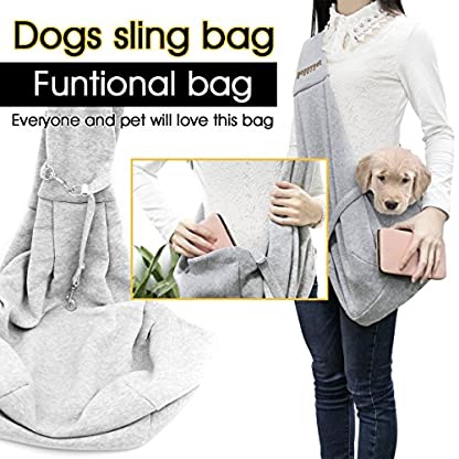 poppypet Pet Sling Carrier, Hands-free Sling Pet Dog Cat Carrier Rabbit Bag Comfortable Shoulder Bag, Double-sided Pouch… 2