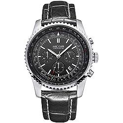 Leopard Shop megir Stecker Japan Quarz Armbanduhr Datum Display wasserabweisend schwarz Leder Silber Schwarz