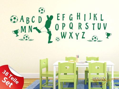Vinilos decorativos para Niños ABC trofeos de fútbol balones (57x57cm // 816 blanco antiguo)