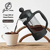 KITCHY OBR Portable Hand Pressure Machine Coffee Grinder Professional French Press Pot Cups 350ML Glass Coffee Mug Maker Drinkware: Black