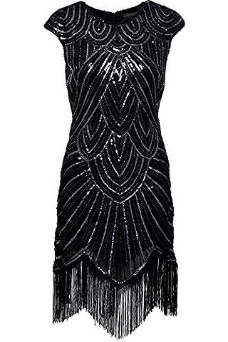 Flapper Robes Fille - Babeyond Femmes Robes Flapper Robe frangée perlée