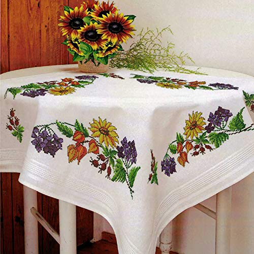 KAMACA Stickpackung Tischdecke Sommerzeit Kreuzstich vorgezeichnet aus Baumwolle Stickset mit Stickvorlage (Mitteldecke 80x80 cm)