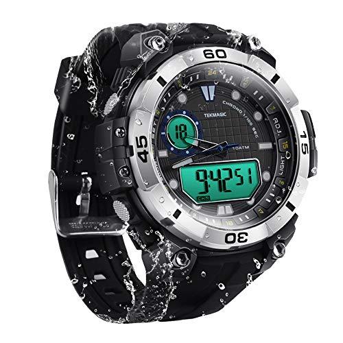 100m Résistant à l'eau sous-Marin Montre de Plongée Chronomètre Submersible avec Alarme, Supporte l'affichage du Double Fuseau Horaire, Mouvements Analogiques et Numériques, Format 12/24 Heur