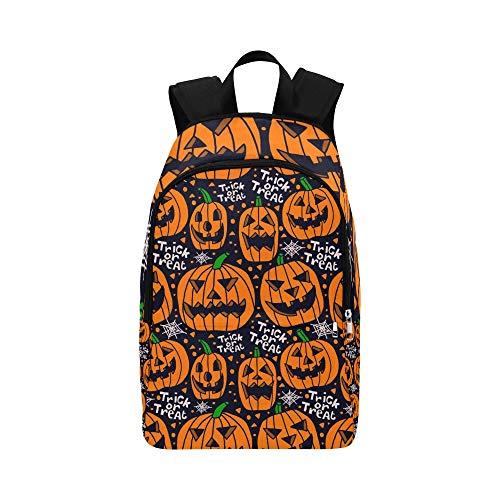 Vektor-Halloween-Kürbis-Trick-Festlichkeits-Nahtlose zufällige Daypack-Reisetasche College School-Rucksack für Männer und Frauen