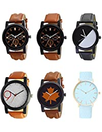 NEUTRON Treading 3D Design Black Blue And Brown Color 6 Watch Combo (B30-B31-B32-B33-B34-B62) For Boys And Men