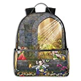 College School Backpacks,Fairies Playing In The Ruins with Flowers Blossom Butterflies Fantasy Scene,Casual Hiking Travel Daypack