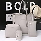 Women Shoulder Bags, Rcool 4PC Women Girls Fashion Casual Shoulder Bag Satchel Tote Bag Purse Handbag Messenger Bag Set (Gray)