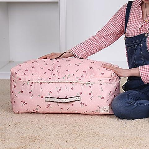 sivin Cherry Pink 2Größe (L + M) dreilagige Struktur Material aus Mikrofaser Aufbewahrungstasche zusammenklappbar Organizer Tasche für kuschelige Decke Kleidung Aufbewahrung, Mikrofaser, Rosa (Cherry Pink), L(56×42×24cm) 56.4L